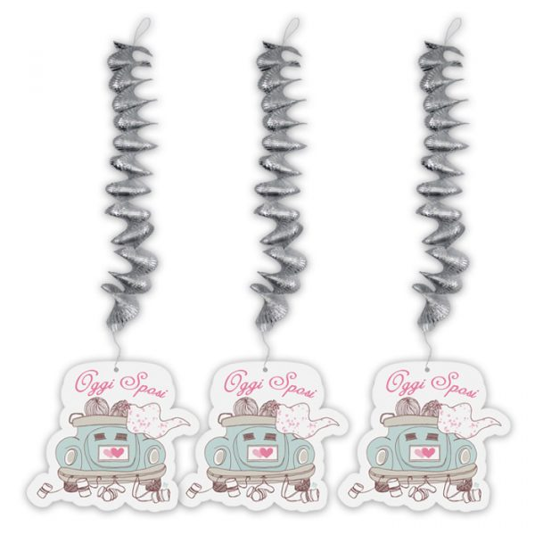 3 Addobbi Spirale Metallizzato con pendente in carta 20 x 80 cm Oggi Sposi