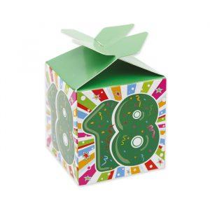 25 Scatoline portaconfetti Cubetto con Fiocco in carta 5 x 7 x 5 cm Diciotto