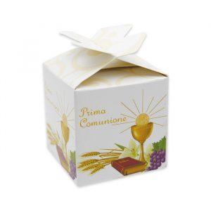 25 Scatoline portaconfetti Cubetto con Fiocco in carta 5 x 7 x 5 cm La Mia Comunione