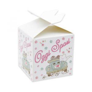 25 Scatoline portaconfetti Cubetto con Fiocco in carta 5 x 7 x 5 cm Oggi Sposi