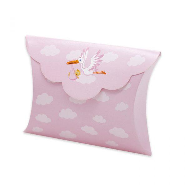 25 Scatoline portaconfetti Busta in carta 10 x 8 x 3 cm Cicogna Rosa