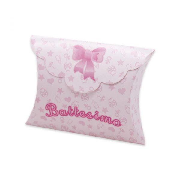 25 Scatoline portaconfetti Busta in carta 10 x 8 x 3 cm Battesimo Baby Rosa
