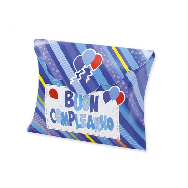 25 Scatoline portaconfetti Busta in carta 10 x 8 x 3 cm Buon Compleanno Celeste