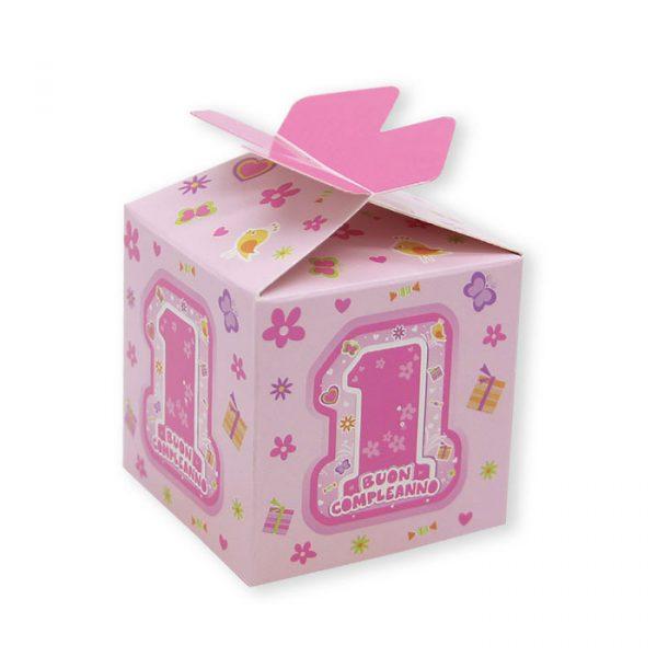 25 Scatoline portaconfetti Cubetto con Fiocco in carta 5 x 7 x 5 cm One Pink