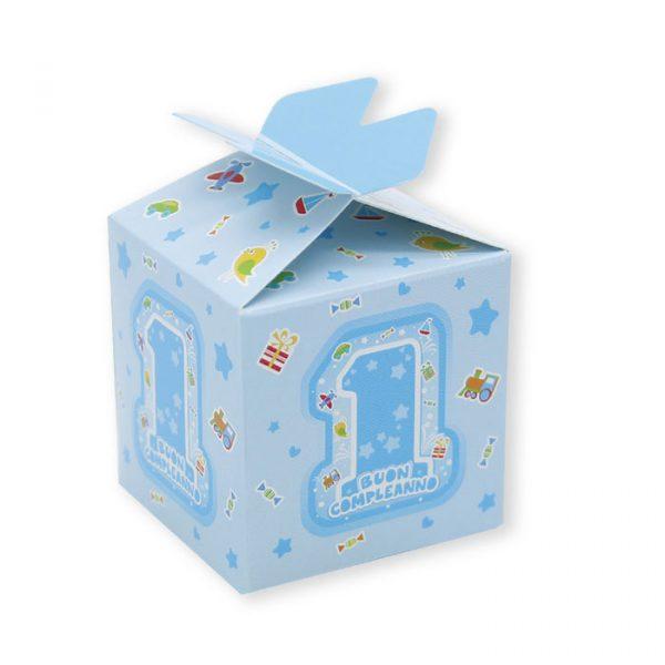 25 Scatoline portaconfetti Cubetto con Fiocco in carta 5 x 7 x 5 cm One Light Blue