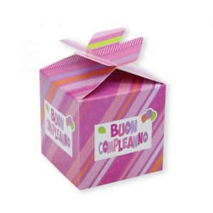 25 Scatoline portaconfetti Cubetto con Fiocco in carta 5 x 7 x 5 cm Buon Compleanno Rosa