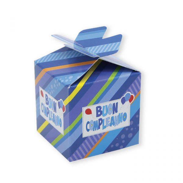 25 Scatoline portaconfetti Cubetto con Fiocco in carta 5 x 7 x 5 cm Buon Compleano Celeste
