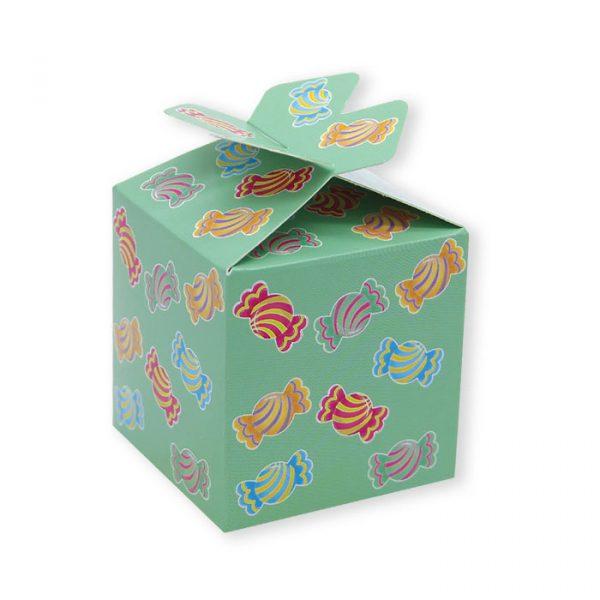 25 Scatoline portaconfetti Cubetto con Fiocco in carta 5 x 7 x 5 cm Candy