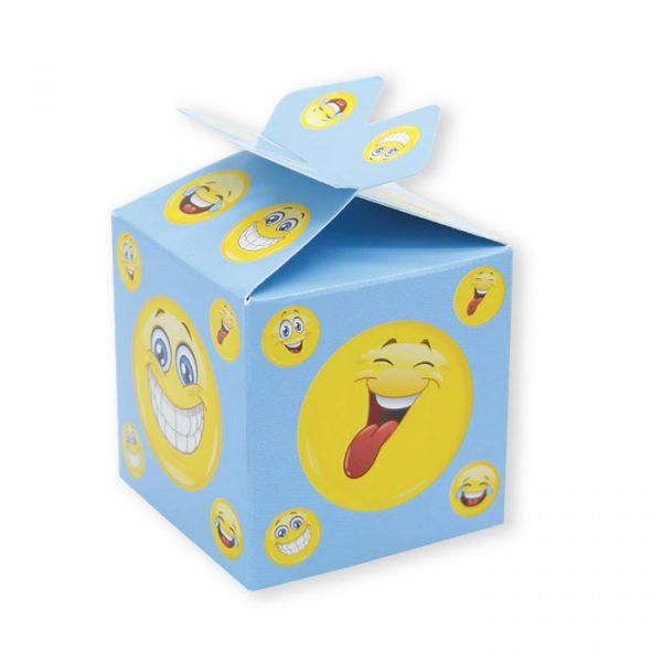 25 Scatoline portaconfetti Cubetto con Fiocco in carta 5 x 7 x 5 cm Emoticons