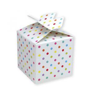25 Scatoline portaconfetti Cubetto con Fiocco in carta 5 x 7 x 5 cm Pois Multicolor