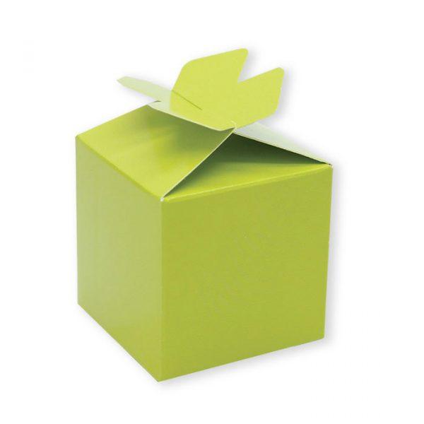 25 Scatoline portaconfetti Cubetto con Fiocco in carta 5 x 7 x 5 cm Verde Mela
