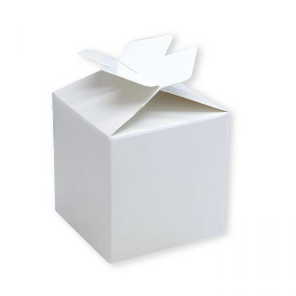 25 Scatoline portaconfetti Cubetto con Fiocco in carta 5 x 7 x 5 cm Bianche