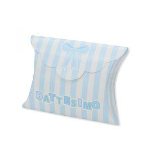25 Scatoline portaconfetti Busta in carta 10 x 8 x 3 cm Battesimo Teddy Celeste