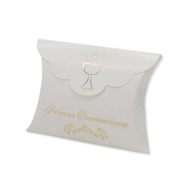 25 Scatoline portaconfetti Busta in carta 10 x 8 x 3 cm Comunione Gold Metal
