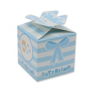 25 Scatoline portaconfetti Cubetto con Fiocco in carta 5 x 7 x 5 cm Battesimo Teddy Celeste