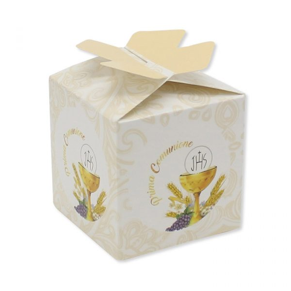 25 Scatoline portaconfetti Cubetto con Fiocco in carta 5 x 7 x 5 cm Santa Comunione