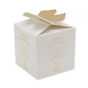 25 Scatoline portaconfetti Cubetto con Fiocco in carta 5 x 7 x 5 cm Comunione Gold Metal