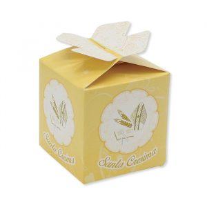 25 Scatoline portaconfetti Cubetto con Fiocco in carta 5 x 7 x 5 cm La Mia Cresima