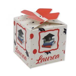 25 Scatoline portaconfetti Cubetto con Fiocco in carta 5 x 7 x 5 cm La Mia Laurea