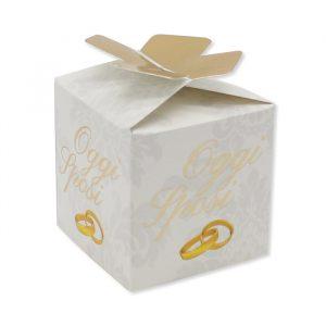 25 Scatoline portaconfetti Cubetto con Fiocco in carta 5 x 7 x 5 cm Sposi Classic