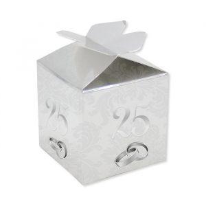 25 Scatoline portaconfetti Cubetto con Fiocco in carta 5 x 7 x 5 cm 25° Anniversario