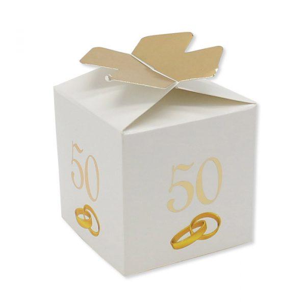 25 Scatoline portaconfetti Cubetto con Fiocco in carta 5 x 7 x 5 cm 50° Anniversario