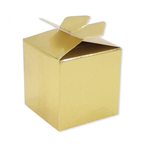 25 Scatoline portaconfetti Cubetto con Fiocco in carta 5 x 7 x 5 cm Oro Metal