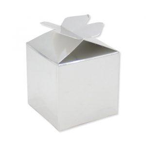 25 Scatoline portaconfetti Cubetto con Fiocco in carta 5 x 7 x 5 cm Argento Metal