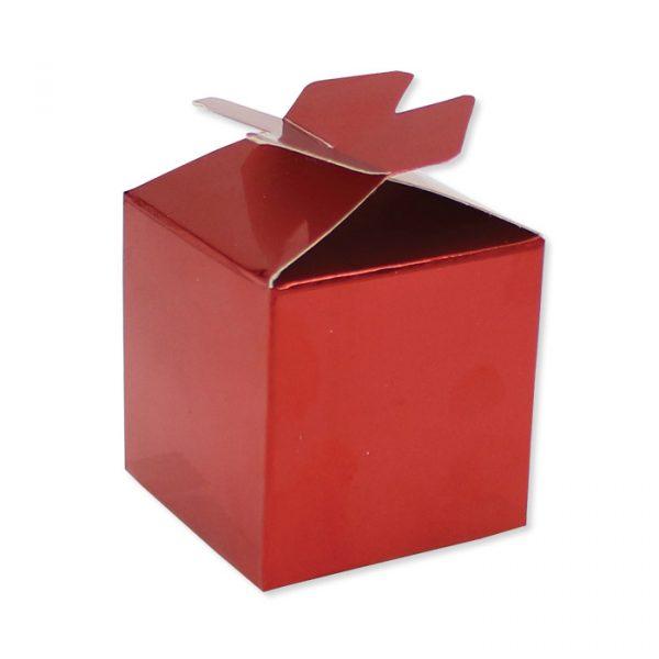 25 Scatoline portaconfetti Cubetto con Fiocco in carta 5 x 7 x 5 cm Rosso Metal