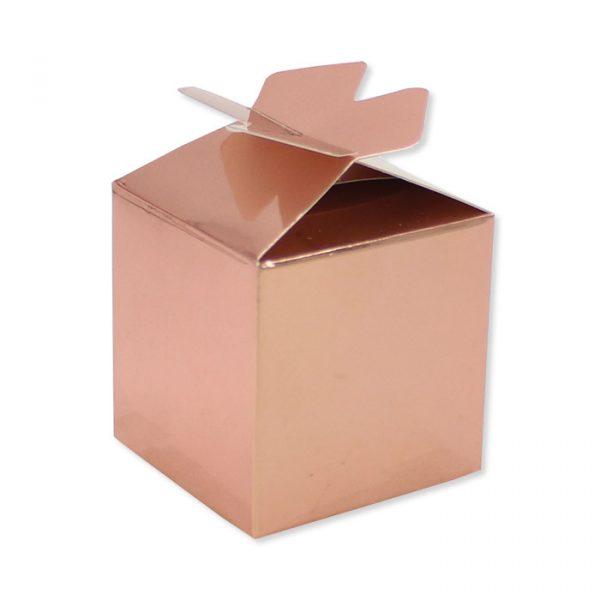 25 Scatoline portaconfetti Cubetto con Fiocco in carta 5 x 7 x 5 cm Rose Gold Metal