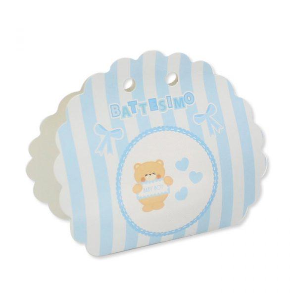 25 Scatoline portaconfetti Ventaglio smerlettato in carta 10 x 9 x 4 cm Battesimo Teddy Celeste