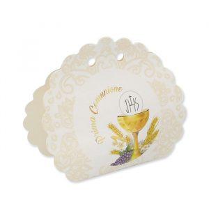 25 Scatoline portaconfetti Ventaglio smerlettato in carta 10 x 9 x 4 cm Santa Comunione