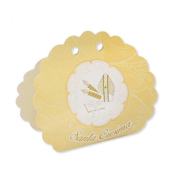 25 Scatoline portaconfetti Ventaglio smerlettato in carta 10 x 9 x 4 cm La Mia Cresima