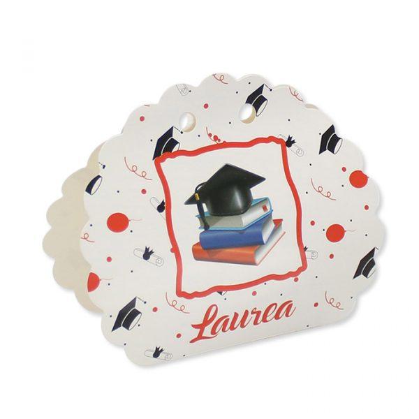 25 Scatoline portaconfetti Ventaglio smerlettato in carta 10 x 9 x 4 cm La Mia Laurea