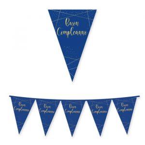 Festone Bandierine in cartoncino 300 x 30 cm Buon Compleanno Blue Gold
