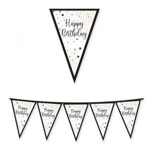 Festone Bandierine in cartoncino 300 x 30 cm Happy Birthday