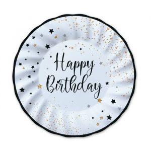 8 Piatti Ø 25 cm Happy Birthday
