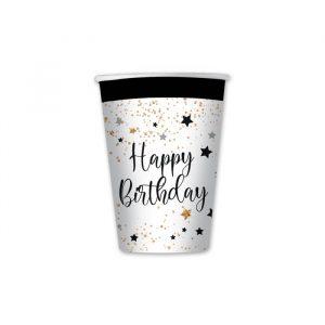 8 Bicchieri 200 cc Happy Birthday