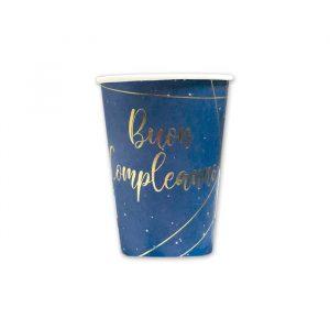 8 Bicchieri 200 cc Buon Compleanno Blue Gold