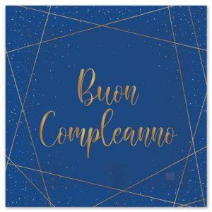 20 Tovaglioli 33 x 33 cm Buon Compleanno Blue Gold