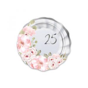 8 Piatti Ø 20 cm 25° Anniversario Floral