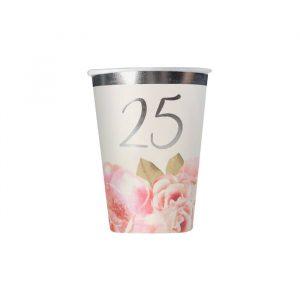 8 Bicchieri 200 cc 25° Anniversario Floral