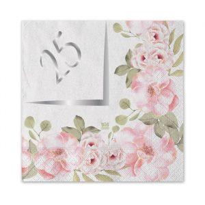20 Tovaglioli 25 x 25 cm 25° Anniversario Floral