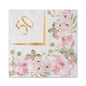 20 Tovaglioli 25 x 25 cm 50° Anniversario Floral